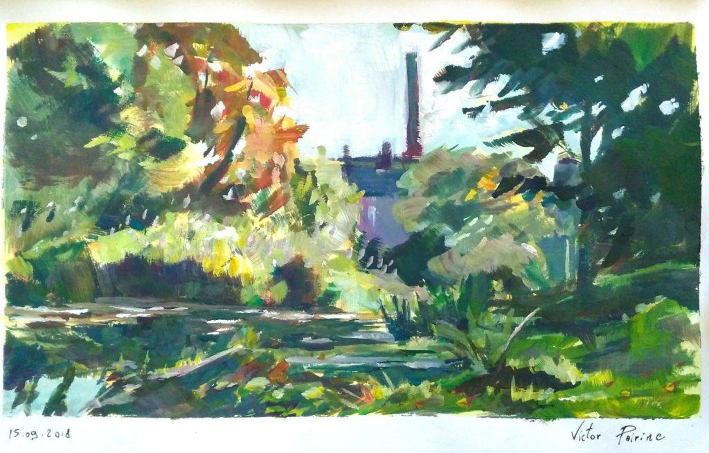Vue sur le Canal de Saint-Nicolas-de-Port. Gouache sur papier canson de format A4