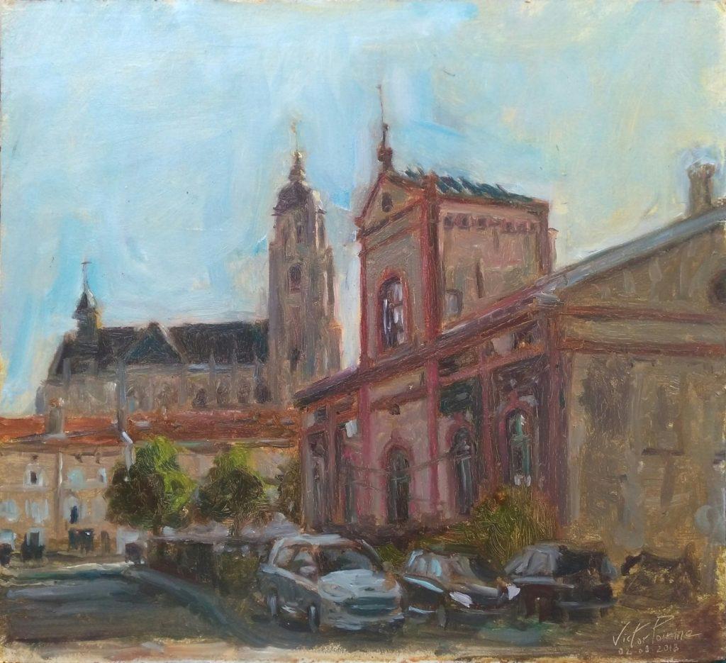 vue sur la Basilique de Saint-Nicolas-de Port depuis un bâtiment délabré à proximité des pompiers. Huile sur panneau. 41x37,5cm