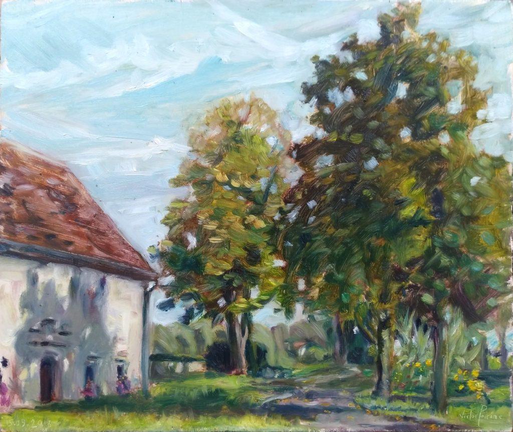 Parc du château de Bourbonne les Bains, huile sur panneau, 37,5x32cm