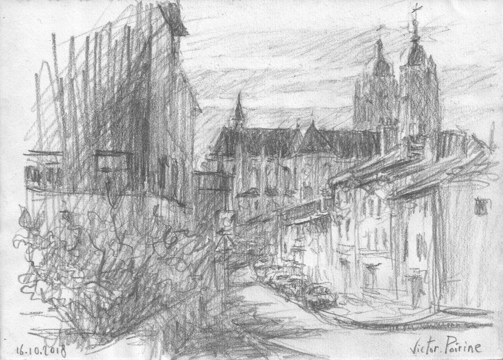 croquis à l\'entrée de Saint-Nicolas-de-Port, en venant de Varangéville,sur mon petit carnet