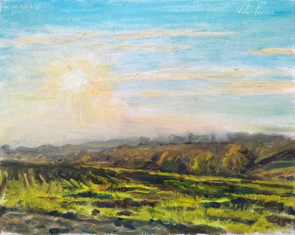 Peinture dans la campagne entre Varangéville et Buissoncourt. Huile sur panneau entoilé. 30x24cm