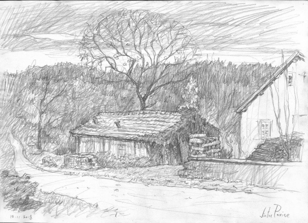 croquis réalisé à Ban de Sapt dans les Vosges.Crayon sur papier. Non disponible