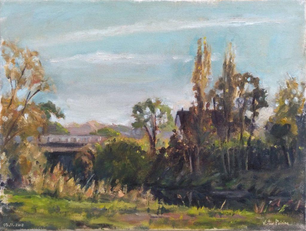 Peinture à l'huile sur toile de 30x40cm réalisée en sortant de Varangéville en direction du parcours de santé. Vue sur le pont reliant Varangéville et Saint-Nicolas-de-Port
