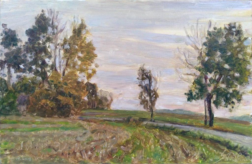 Peinture à l'huile sur toile de 26,7x40cm réalisée dans la campagne entre Varangéville et Buissoncourt.