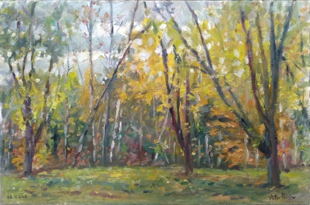 Peinture à l'huile sur panneau entoilé de 40,8x26,8cm réalisée dans les bois du parcours de santé en venant depuis Varangéville