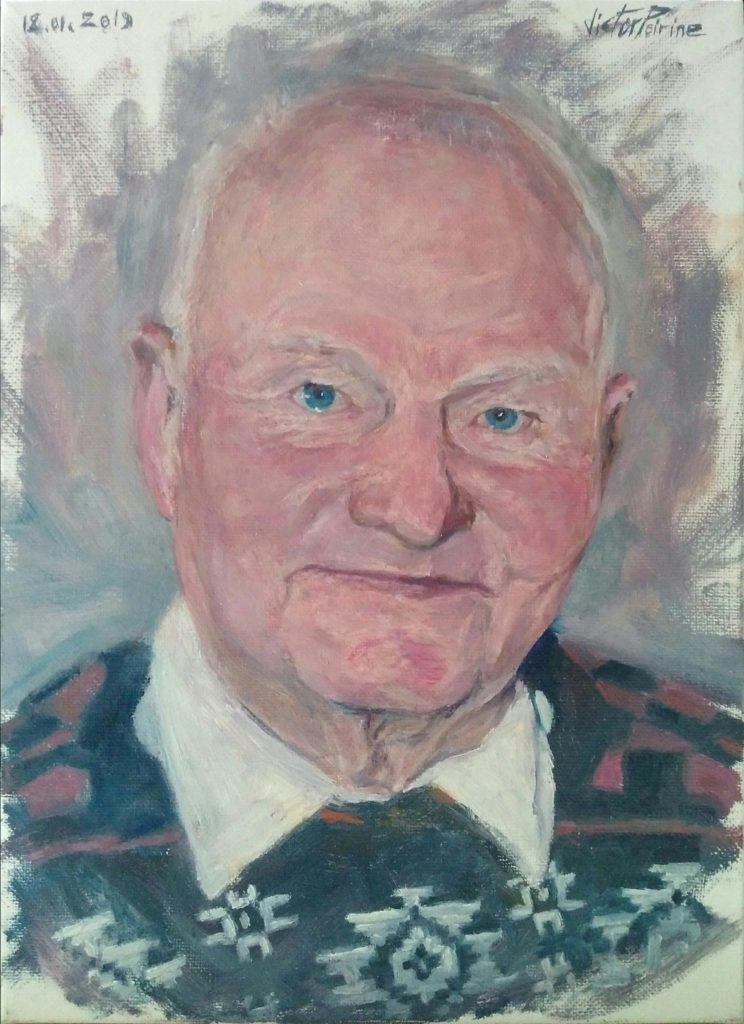 Portrait d'un monsieur décédé réalisé pour sa femme. Huile sur toile. 32,7x23,9cm