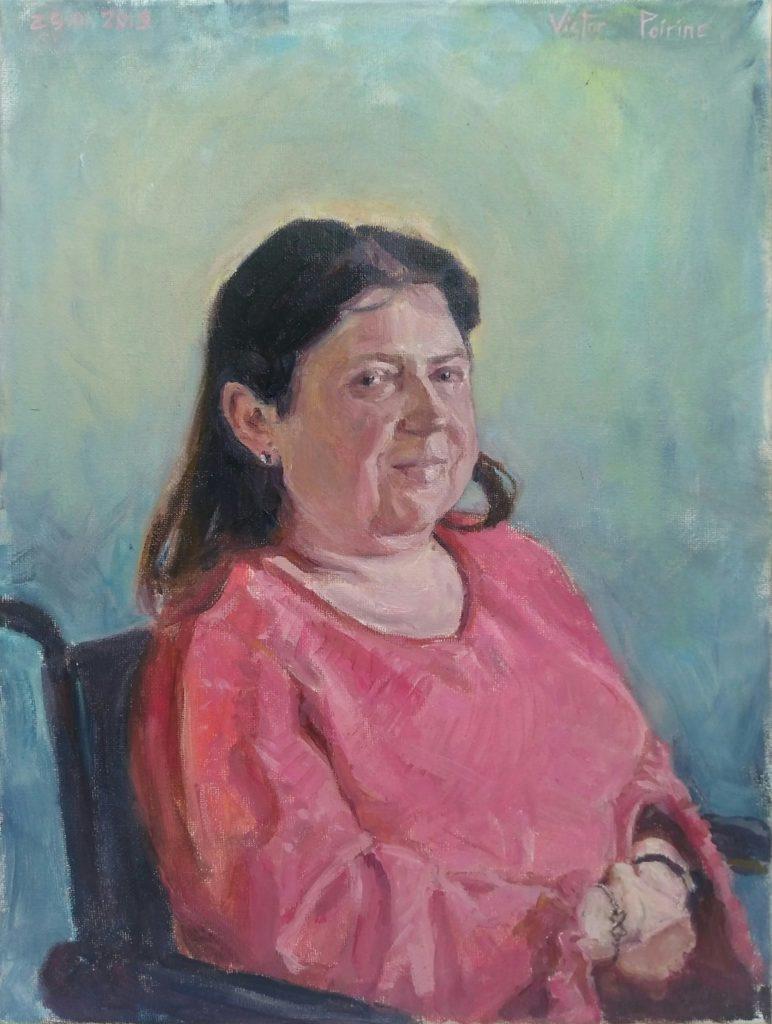 Portrait d'une dame décédée réalisé pour sa sœur. Huile sur toile. format A3