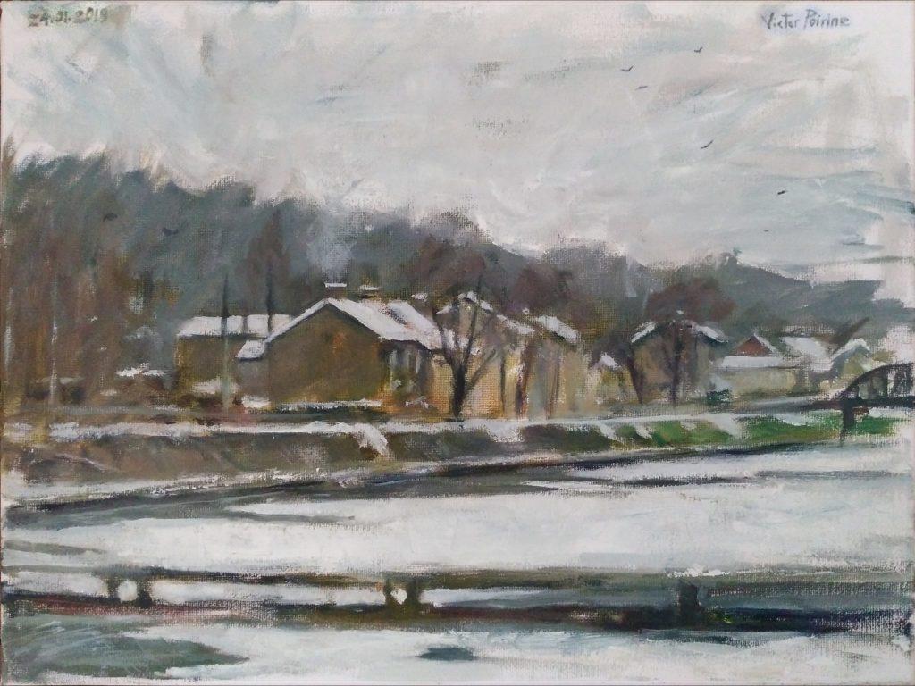 Le canal gelé entre Varangéville et Dombasle. Huile sur toile. 30x40cm