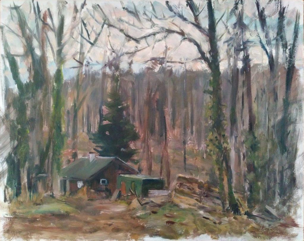 Maison du chasseur à Laître dans les Vosges. Huile sur panneau. 50x40cm