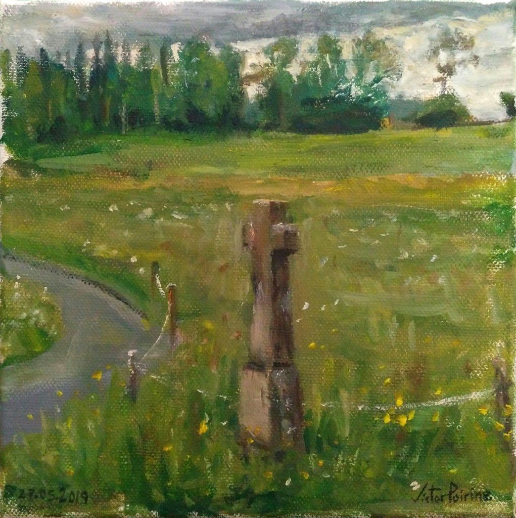 Calvaire peint dans les Vosges près de Ban-de-Sapt Laître. Croix des Maix Pres. Huile sur toile de 20x20cm