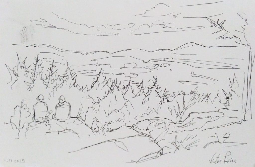 croquis dans les Vosges en forêt près de Ban-de-Sapt. Plume et encre de chine