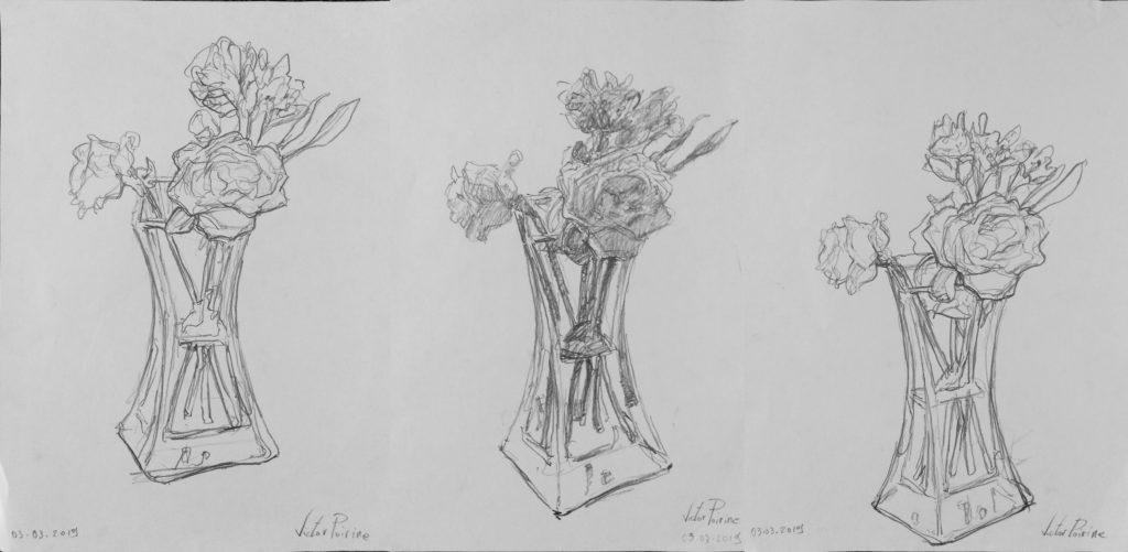 3 croquis sur des A4 d\'un vase avec des fleurs. Recherches sur la ligne