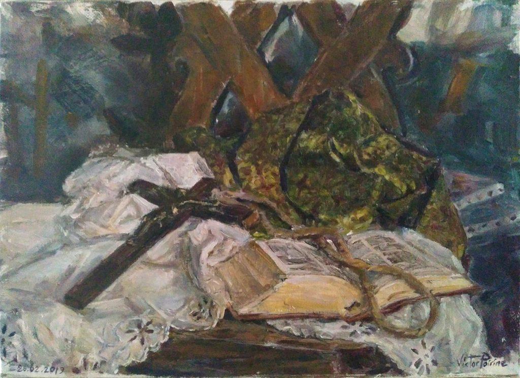 Nature morte. Crucifix, et Bible sur des tissus décorés, le tout sur une chaise ancienne. Huile sur toile de 32,5x23,5 cm