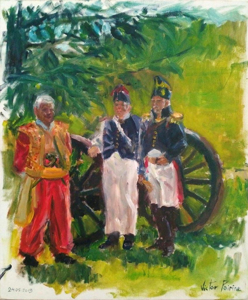peinture lors d'une reconstitution costumée de soldats napoléoniens pour les Imaginales d'Epinal 2019. 3 soldats dont un Mamelouk et un capitaine devant le canon (il faudra me rechercher les costumes). Huile sur toile de 46x55cm