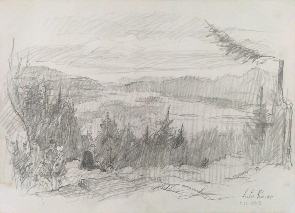 croquis dans les Vosges en forêt près de Ban-de-Sapt. Crayon sur papier