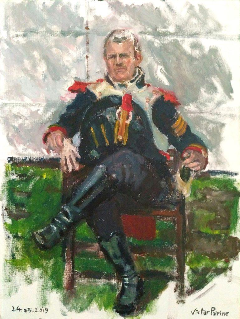 portrait en pied lors d'une reconstitution costumée de soldats napoléoniens pour les Imaginales d'Epinal 2019. Huile sur toile de 30x40,5cm.Non disponible