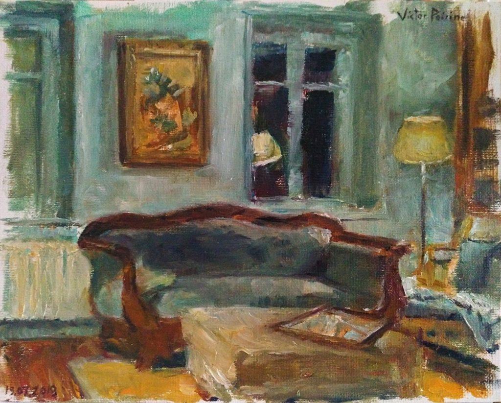 Salon de mon ami Pierre-Louis à Ban-de-Sapt. Peinture à l'huile sur carton entoilé. 24X30 cm