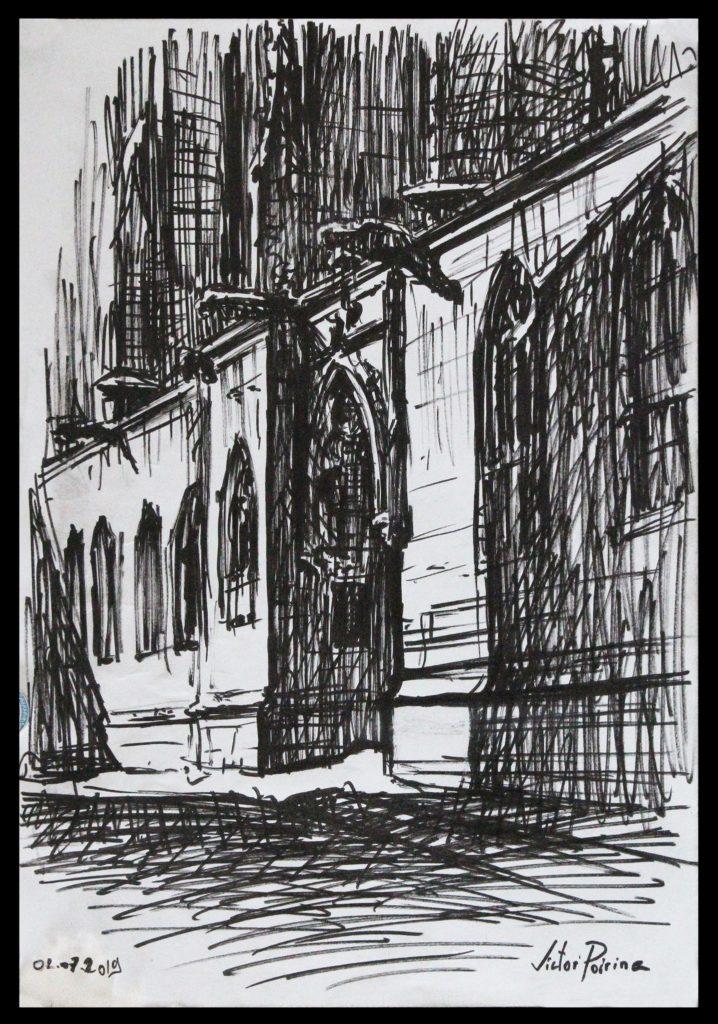 180euros - Croquis d\'une entrée latérale de la basilique de Saint-Nicolas-de-Port. Feutre noir sur papier A4.