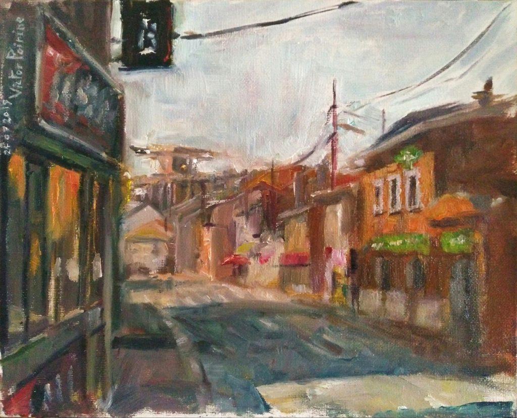 Direction Solvay depuis Dombasle n°2. Peinture à l'huile sur carton entoilé. 24x30cm