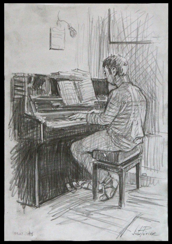 croquis de mon ami Pierre-Louis jouant du piano. Crayon sur papier A4.Non Disponible