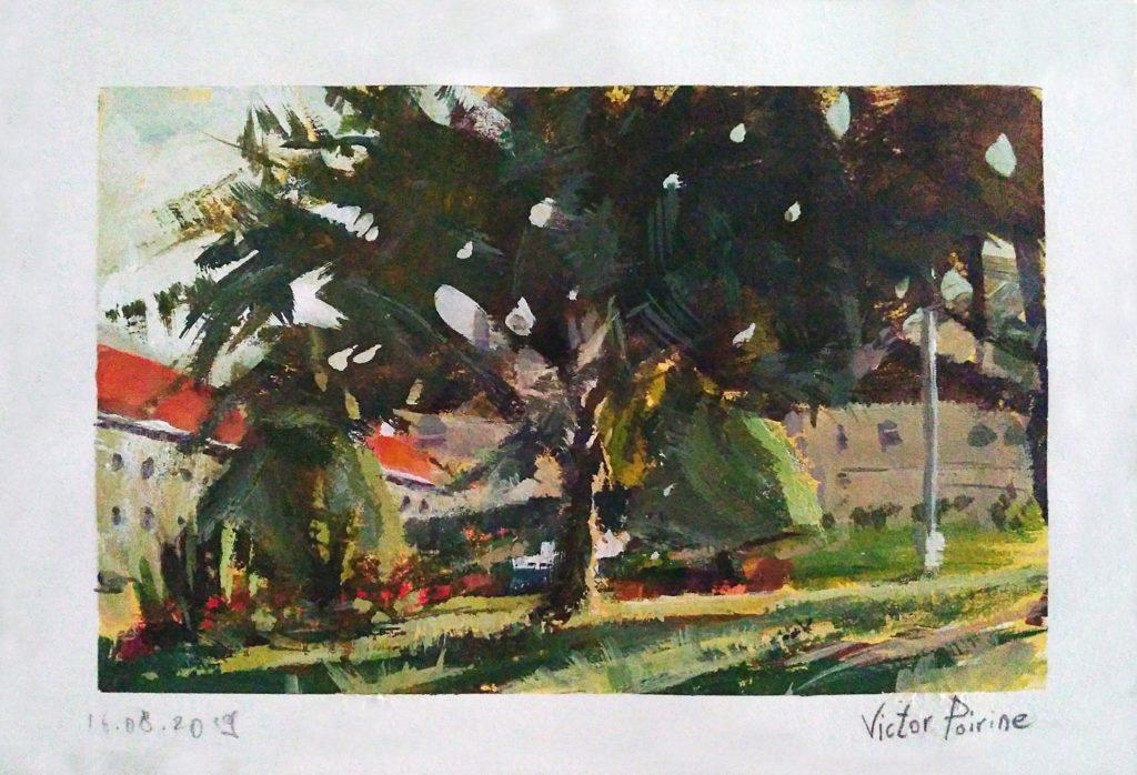 Dans le parc en fin de journée à Saint-Nicolas-de-Port. Aquarelle et gouache sur papier. 21X14,7cm avec les marges