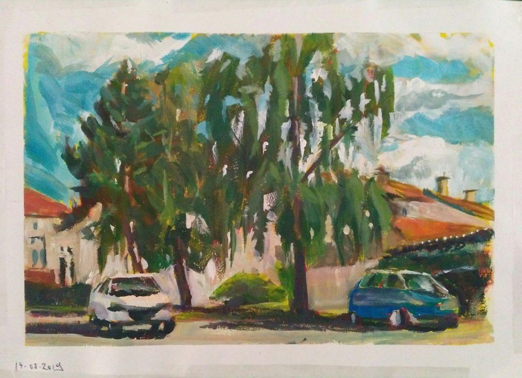 Petit coin proche du parc à St Nicolas-de-Port. Gouache sur papier.21X29,7cm en comptant la marge