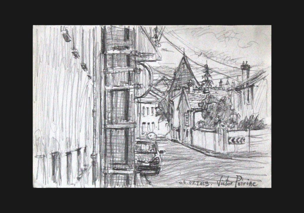 Croquis dans la Rue François Richard depuis chez ma mère. Crayon sur Papier.