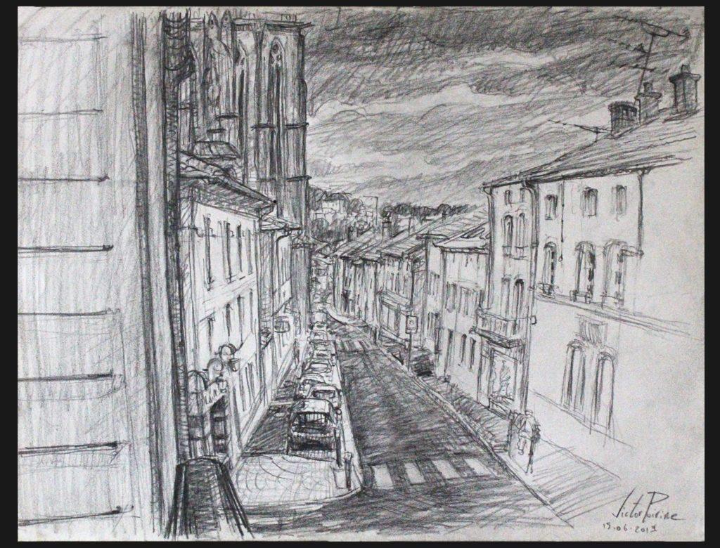 croquis de la Rue Anatole France à Saint-Nicolas-de-Port depuis ma fenêtre. Crayon sur papier croquis A3.