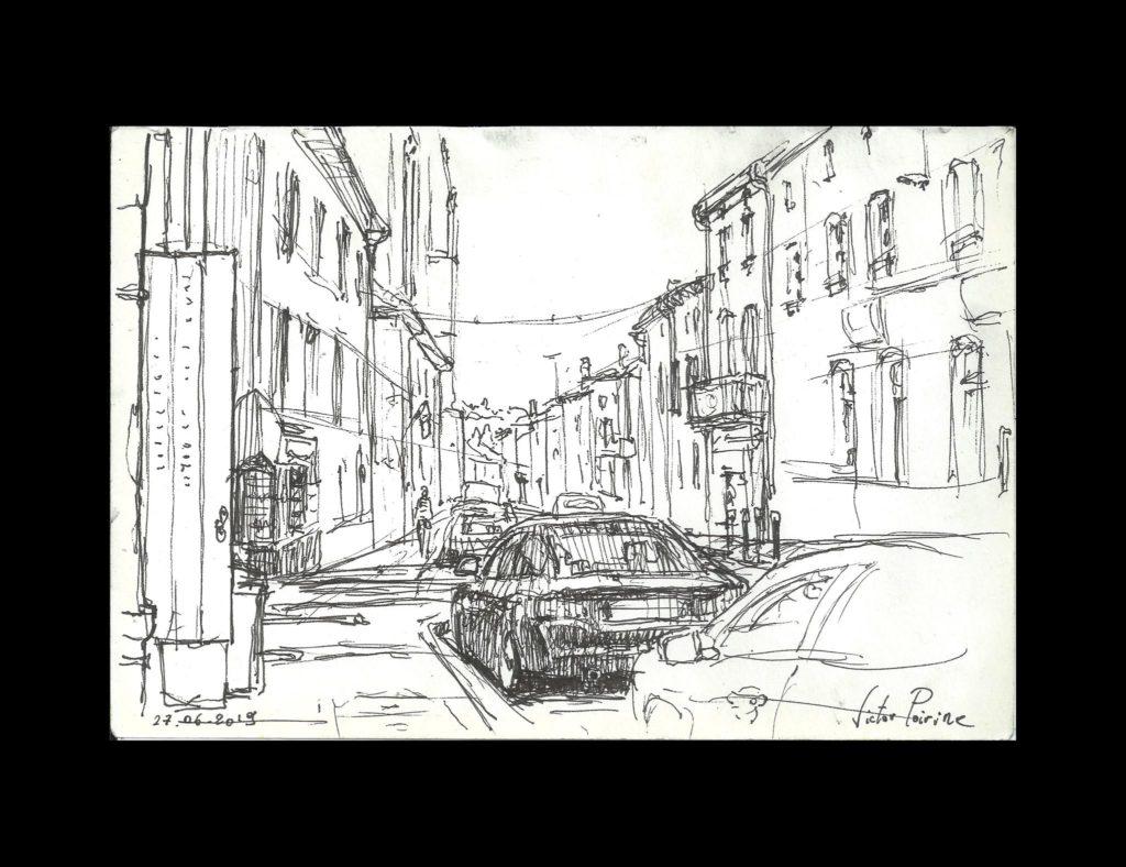 croquis en haut de la Rue Anatole France à Saint-Nicolas-de-Port depuis le palier de ma porte. Stylo encre sur papier. Non disponible