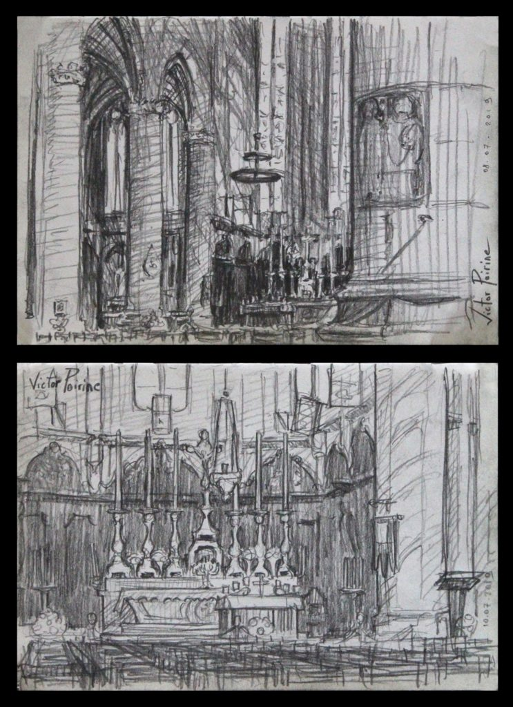 2 Croquis du coeur de la basilique de Saint-Nicolas-de-Port. Crayon sur Papier