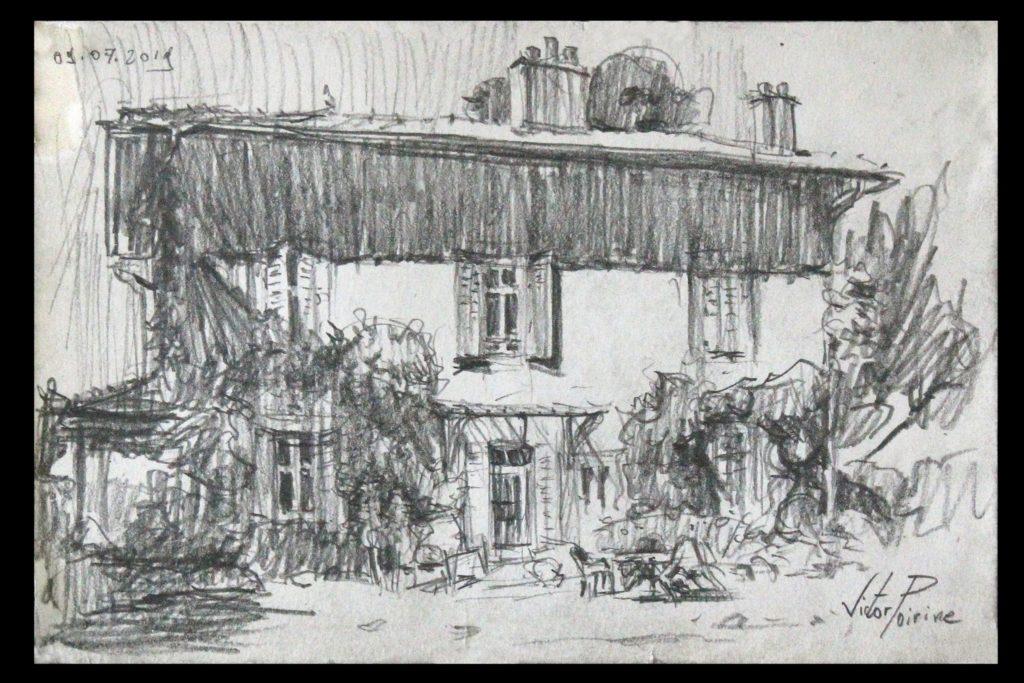 croquis de la maison des parents de mon ami Pierre-Louis à Blainville-sur-l\'\'eau. Crayon sur papier