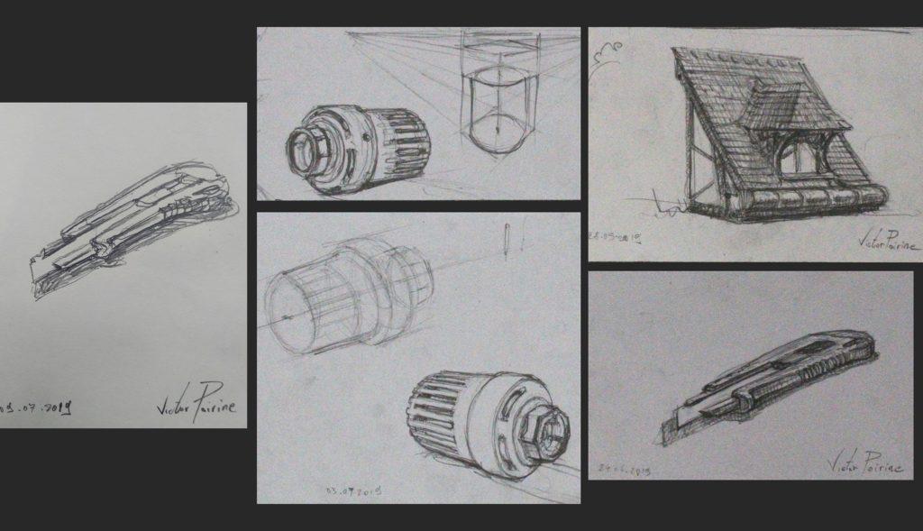 Des croquis de mon cutter, d\'un bouton de radiateur et d\'une toiture lors d\'exemples donnés en cours chez les Compagnons du devoir. Crayon