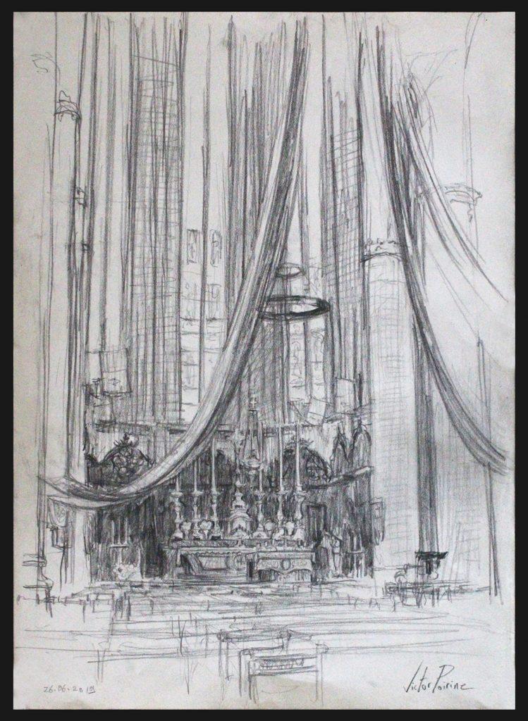 Un grand croquis d\'une vue du coeur de la basilique de Saint-Nicolas-de-Port. Crayon sur papier A3