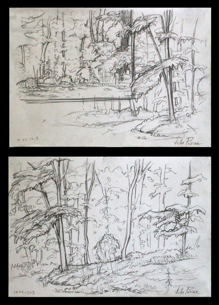2 pages A4 de croquis d\'un bois réalisés lors d\'exemples donnés aux compagnons du devoir.