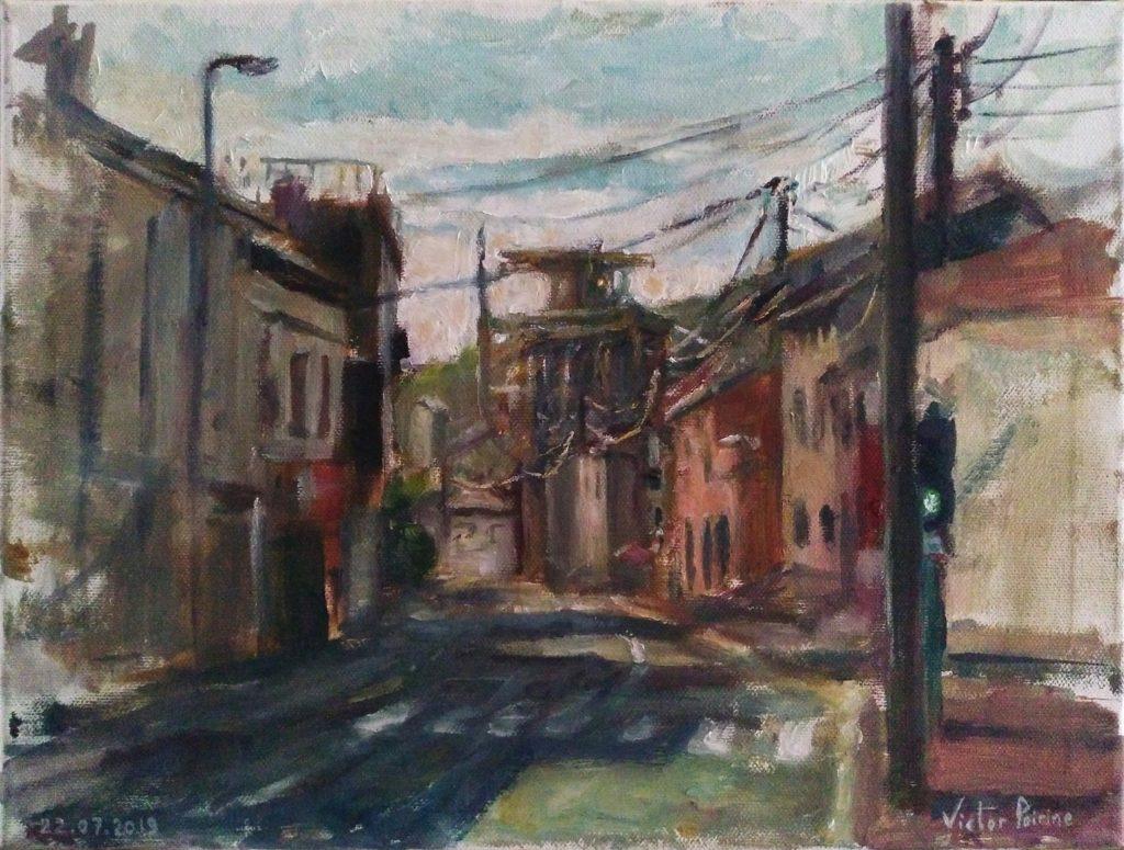 Direction Solvay depuis Dombasle. Peinture à l'Huile sur toile. 40x30 cm