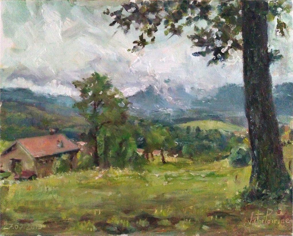 Vue proche du cimetière de Ban-de-Sapt, Vosges. Peinture àl'Huile sur carton entoilé. 24X30cm