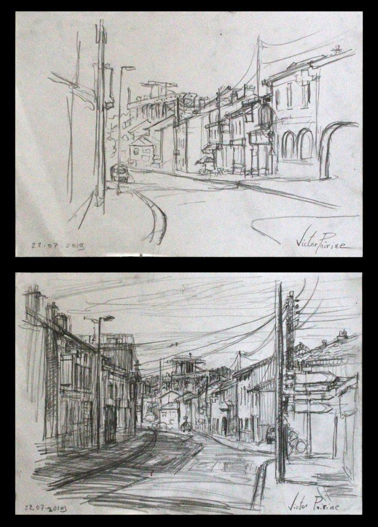 2 croquis dans Dombasle, direction l\'Usine Solvay. crayon sur papier.