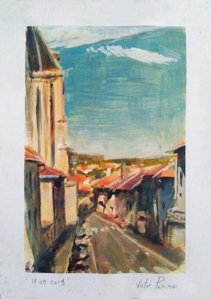 Vue Depuis Ma Fenêtre à Saint-Nicolas-de-Port. Aquarelle et Gouache.demi A4