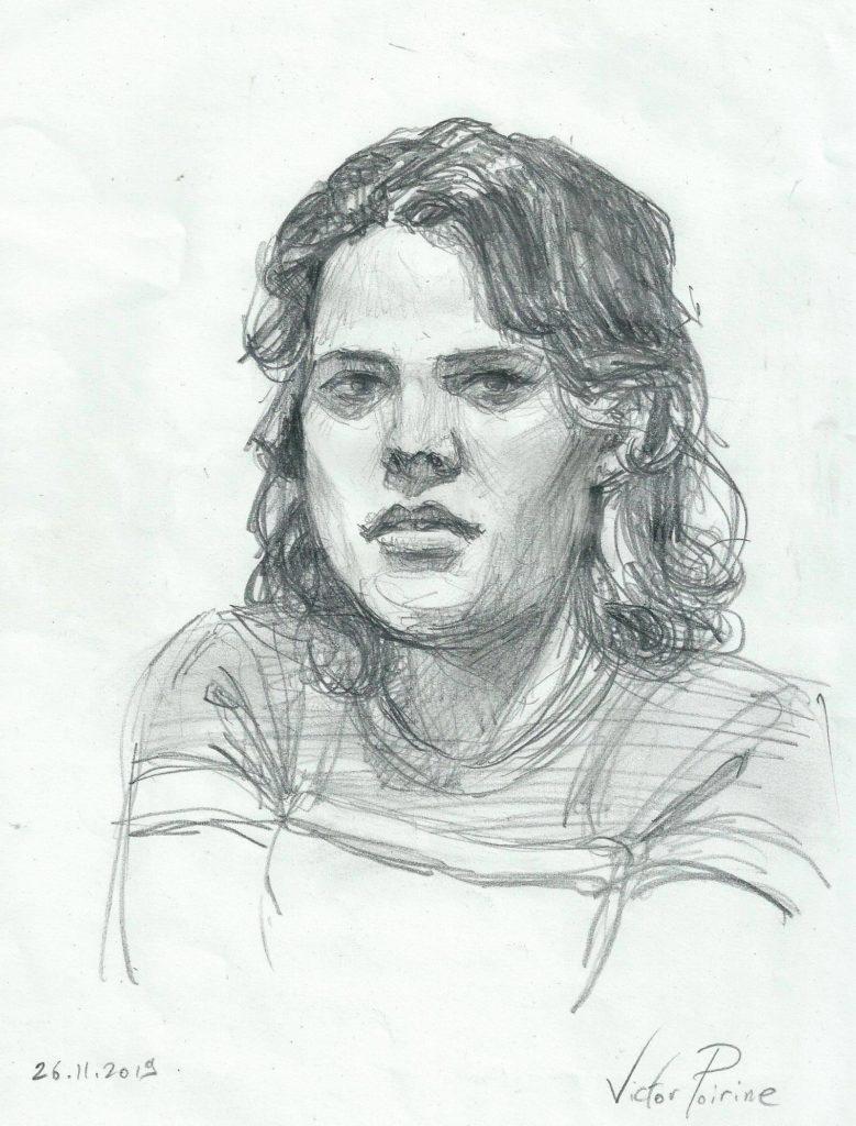 portrait croqué d\'Aurélie, ma voisine du dessous