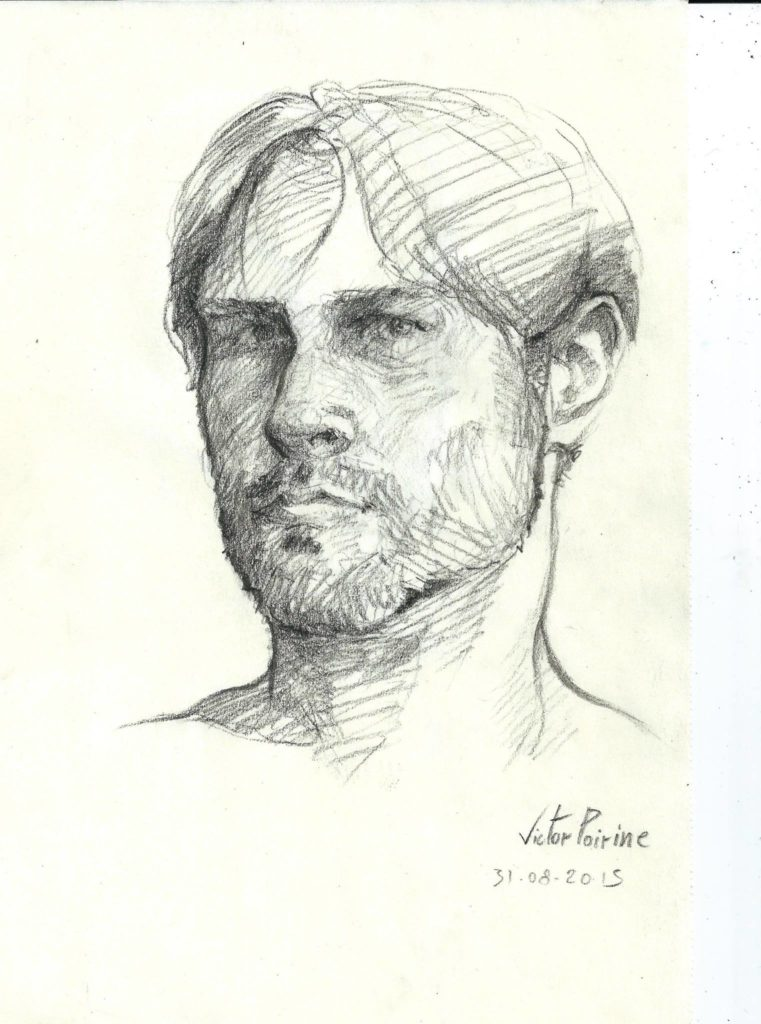 un autoportrait au fusain