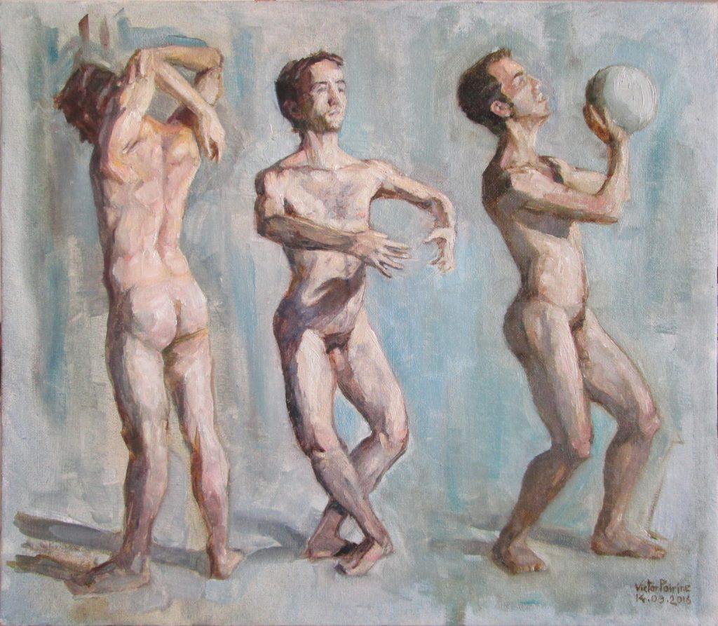 étude d'un homme nu, 3 poses, huile sur carton entoilé, 39,5x45cm