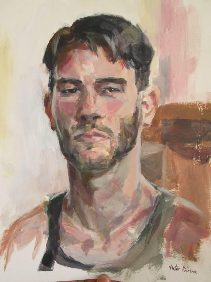 Autoportrait à l'acrylique sur papier cartonné32,2x43cm