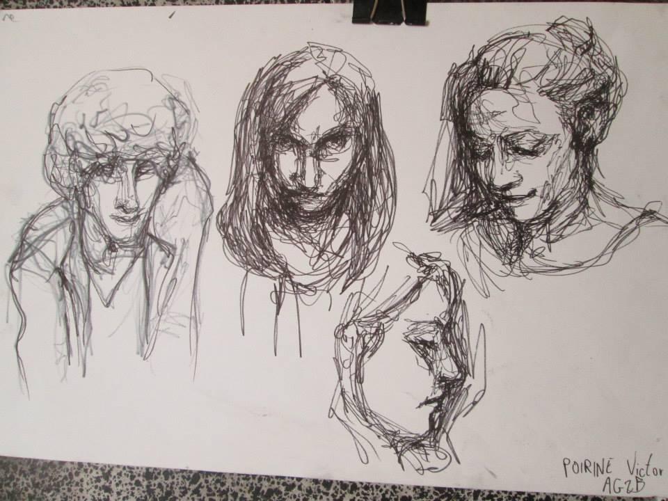 portraits au stylo. Un autre exercice