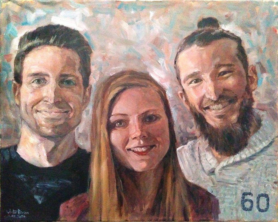Commande de portraits groupés. Huile sur toile. Supérieur au A3 Vendu