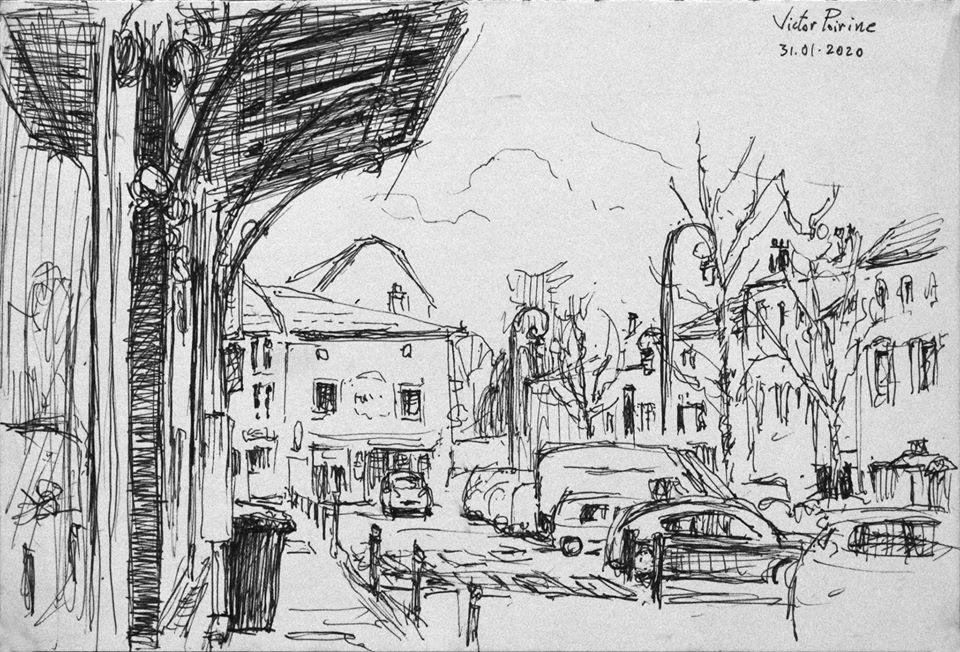 Croquis au stylo à Saint-Nicolas-de-Port sur la place de la Mairie