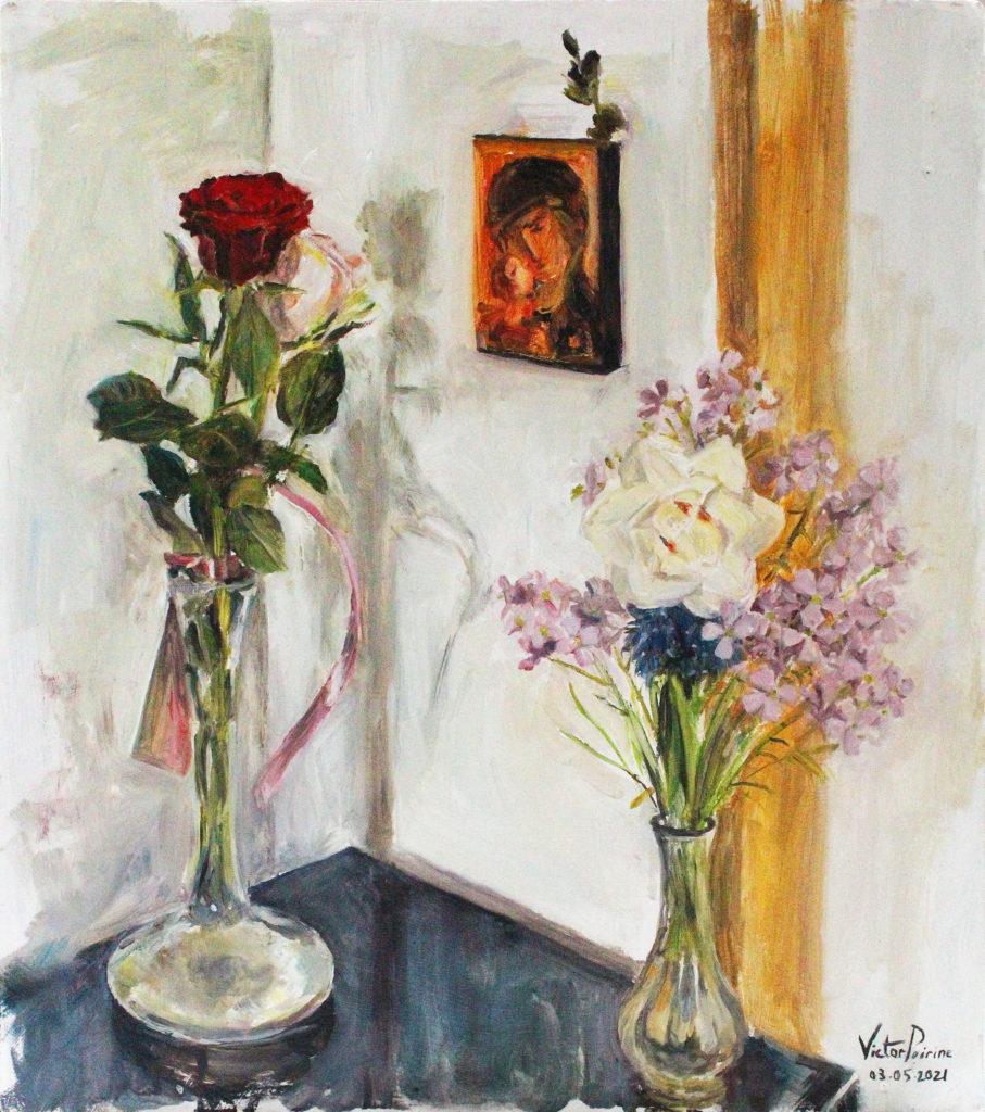 280euros - Deux vases pour Marie. Huile sur panneau. 34,7x30,5cm