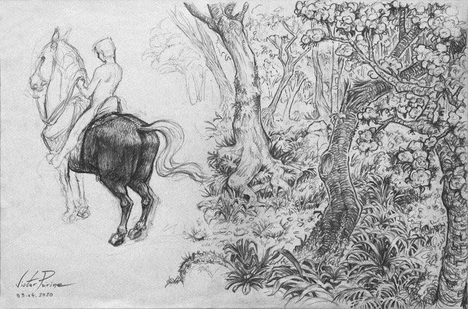 Expérimentations. Un cavalier et une forêt. Crayon sur papier