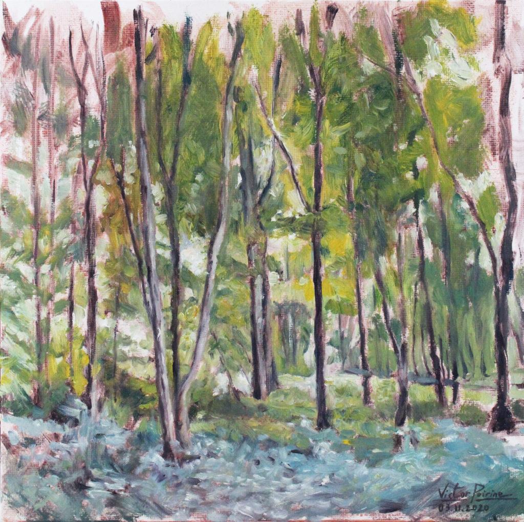 300euros - Forêt, huile sur panneau entoilé de 25X25cm, 03.11.2020