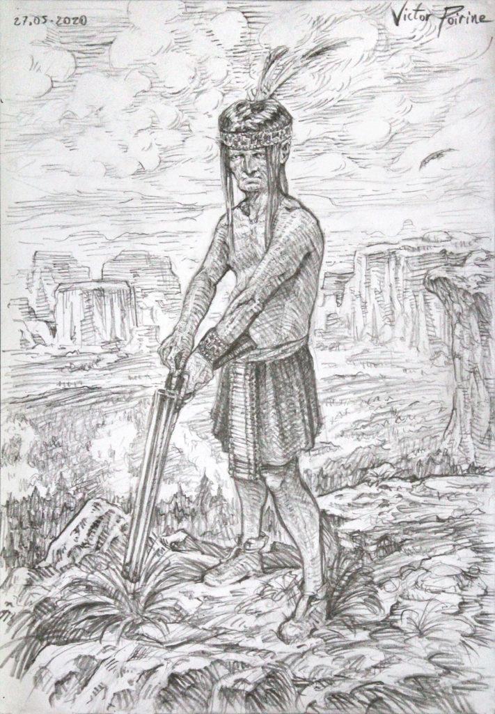 Indien d'Amérique, fusil au poing, dans mon carnet sur les personnages. Crayon sur papier