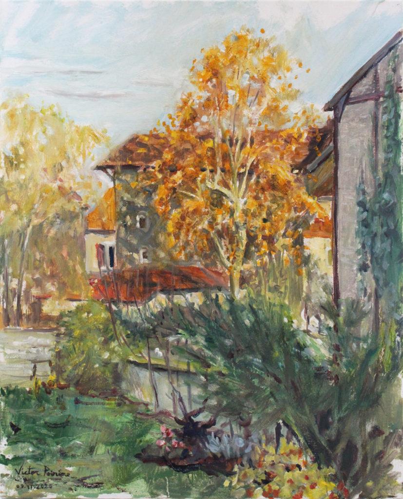330euros - Jardin de ma mère , huile sur panneau entoilé de 24x30cm, 09.11.2020
